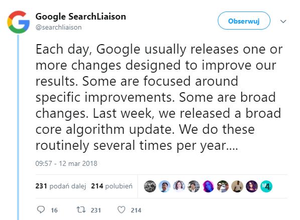 Google zaktualizował algorytm wyszukiwarki (informacja z Twittera)